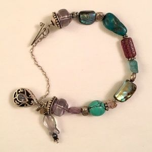 "Jewelry - Silver & Gemstone Beaded Bracelet 7"" Turquoise Etc"